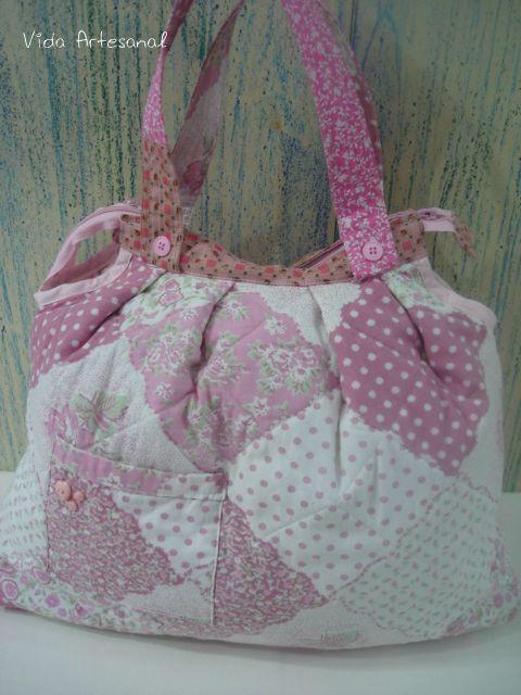 Bolsa Em Tecido Patchwork Feminina Com Alça Para Os Ombros : Bolsas vida artesanal